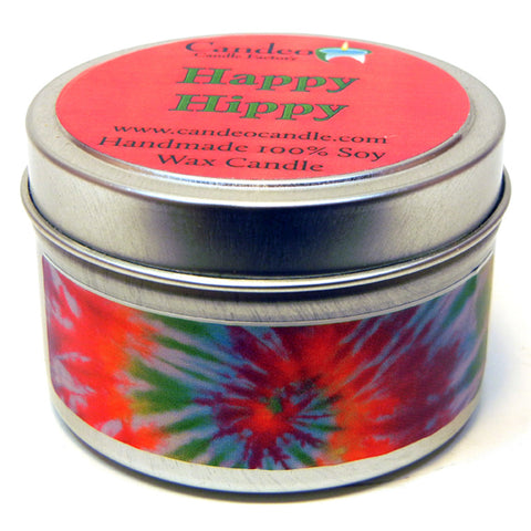 Happy Hippy, 4oz Soy Candle Tin - Candeo Candle - 1