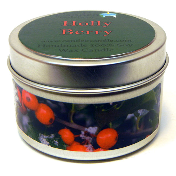 Holly Berry, 4oz Soy Candle Tin - Candeo Candle - 1
