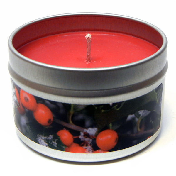 Holly Berry, 4oz Soy Candle Tin - Candeo Candle - 2