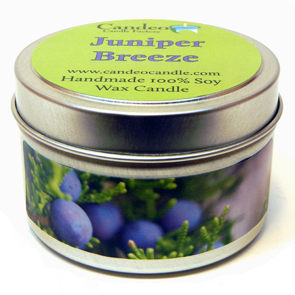 Juniper Breeze, 4oz Soy Candle Tin - Candeo Candle - 1
