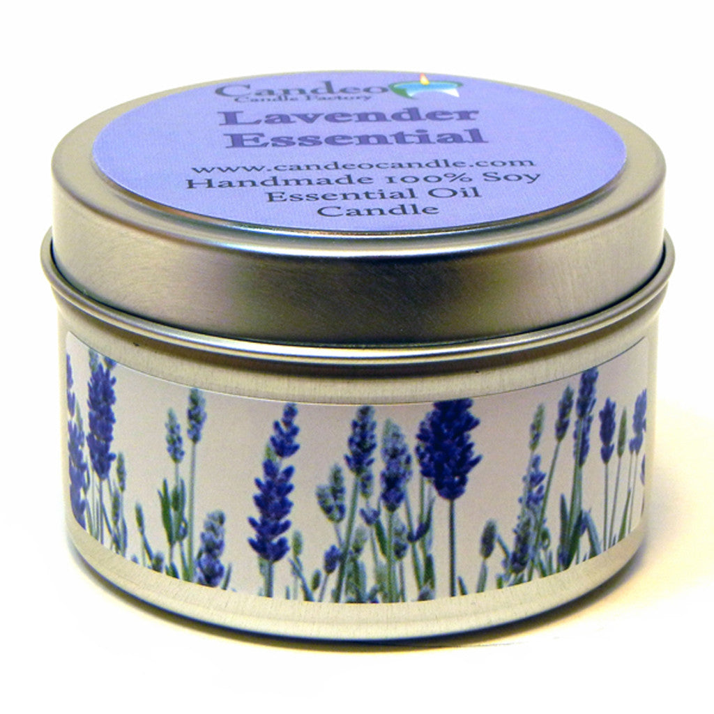 Lavender Essential Oil, 4oz Soy Candle Tin - Candeo Candle