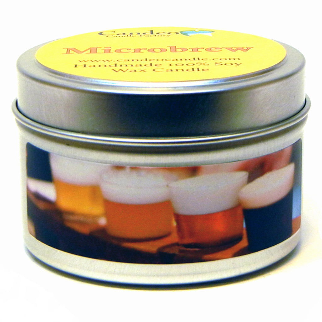 Microbrew, 4oz Soy Candle Tin - Candeo Candle
