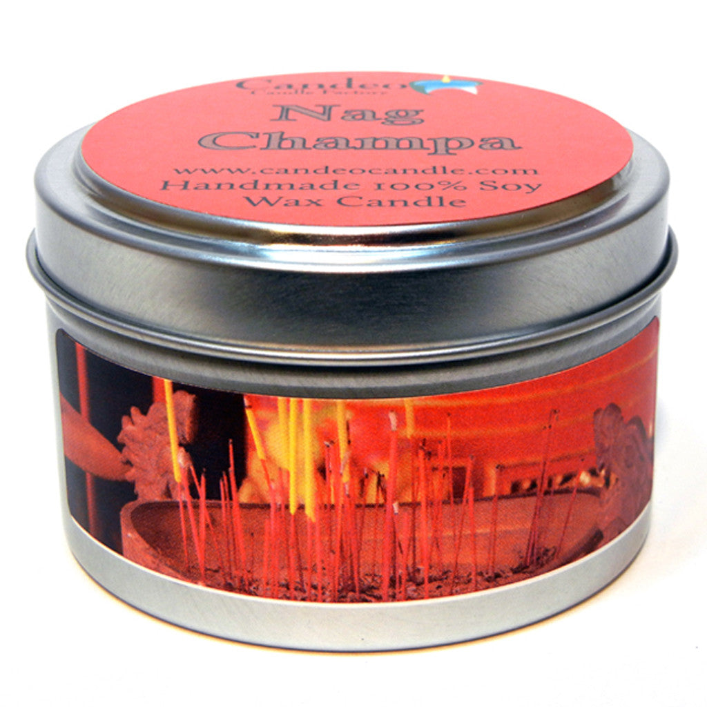 Nag Champa, 4oz Soy Candle Tin - Candeo Candle