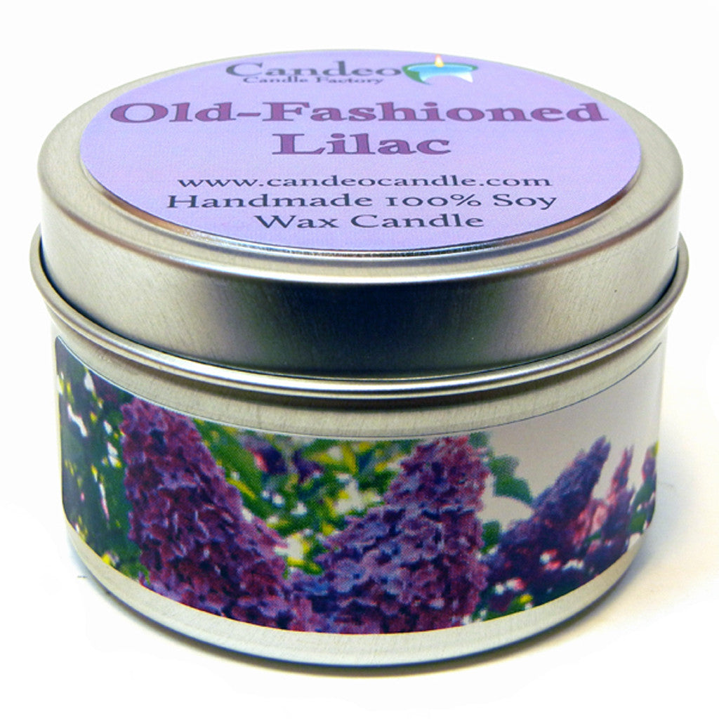 Old-Fashioned Lilac, 4oz Soy Candle Tin - Candeo Candle - 1