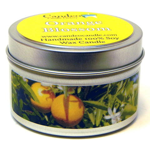 Orange Blossom, 4oz Soy Candle Tin - Candeo Candle