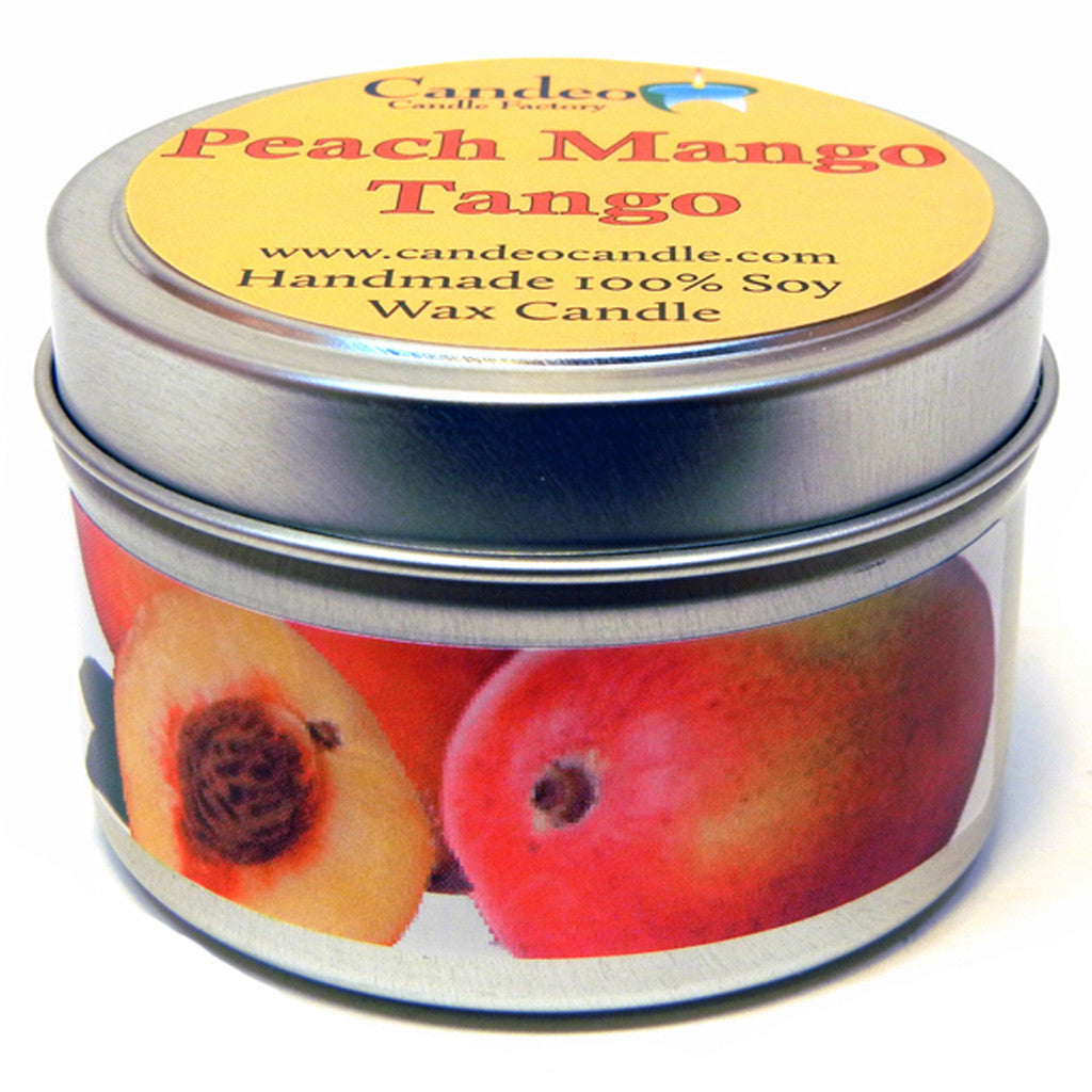 Peach Mango Tango, 4oz Soy Candle Tin - Candeo Candle - 1