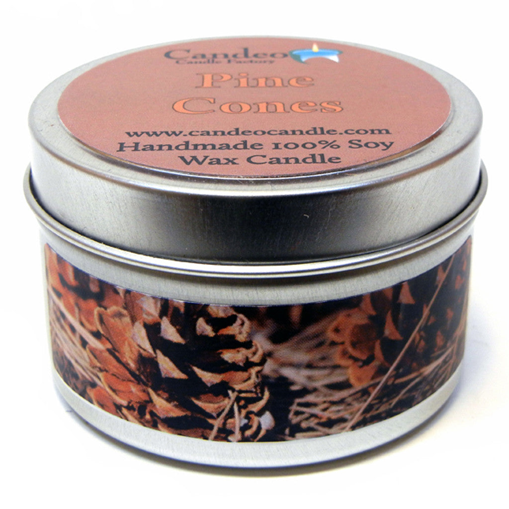 Pine Cones, 4oz Soy Candle Tin - Candeo Candle