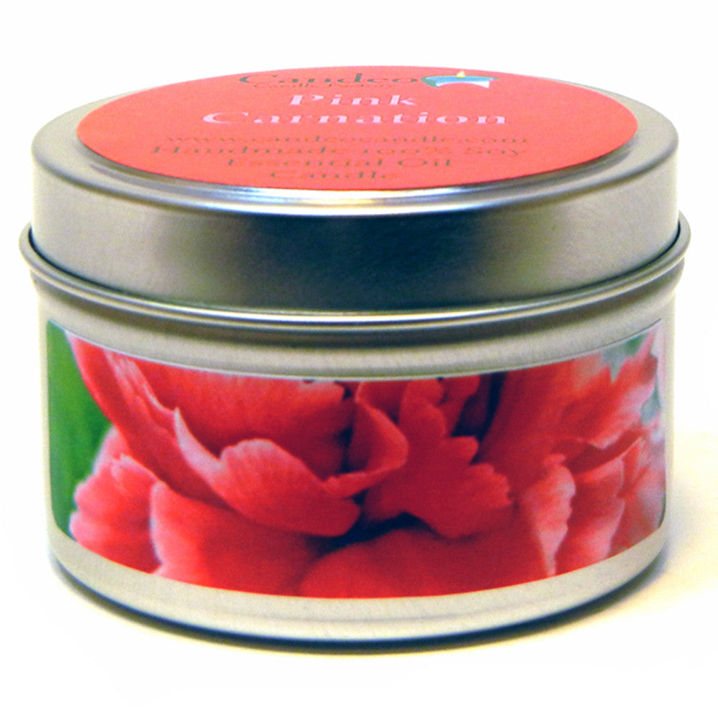 Pink Carnation, 4oz Soy Candle Tin - Candeo Candle