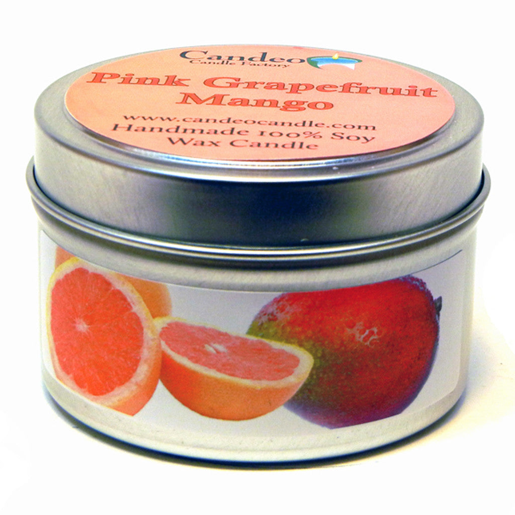 Pink Grapefruit Mango, 4oz Soy Candle Tin - Candeo Candle - 1