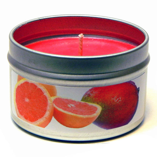 Pink Grapefruit Mango, 4oz Soy Candle Tin - Candeo Candle - 2
