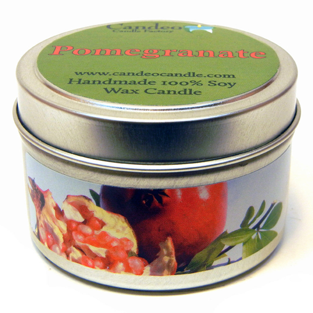 Pomegranate, 4oz Soy Candle Tin - Candeo Candle - 1