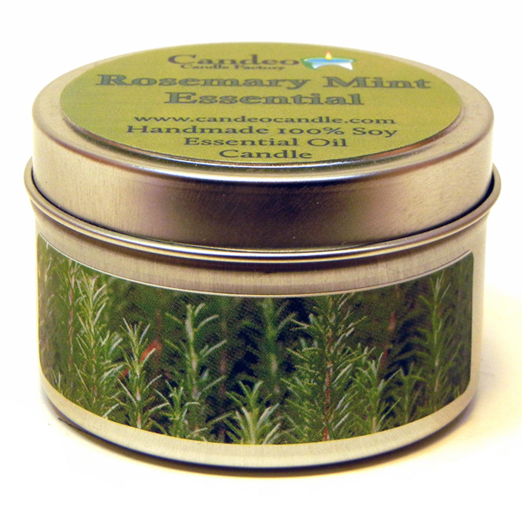 Rosemary Mint Essential Oil, 4oz Soy Candle Tin - Candeo Candle - 1