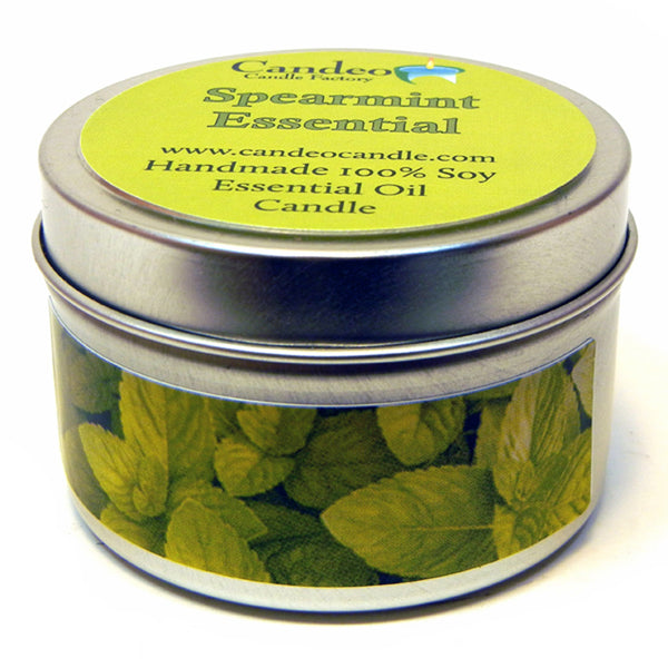 Spearmint Essential Oil, 4oz Soy Candle Tin - Candeo Candle - 1