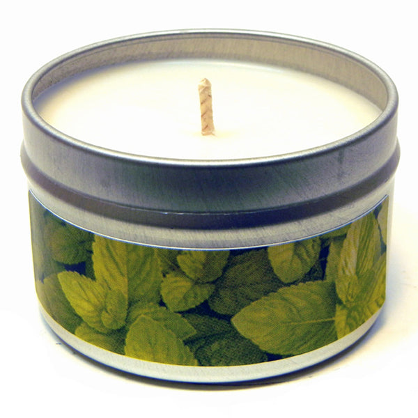 Spearmint Essential Oil, 4oz Soy Candle Tin - Candeo Candle - 2