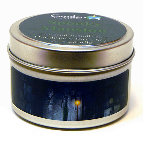 Spooky Mansion, 4oz Soy Candle Tin - Candeo Candle