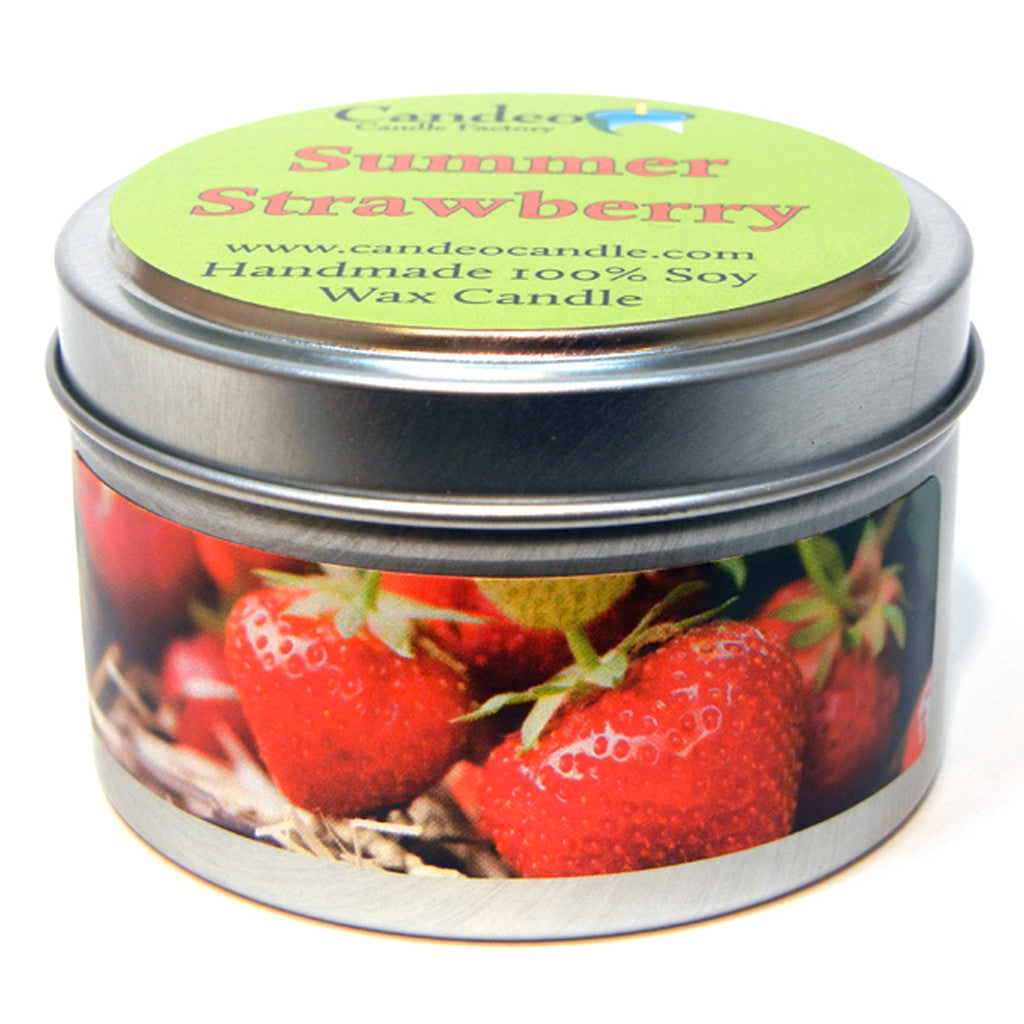 Summer Strawberry, 4oz Soy Candle Tin - Candeo Candle - 1