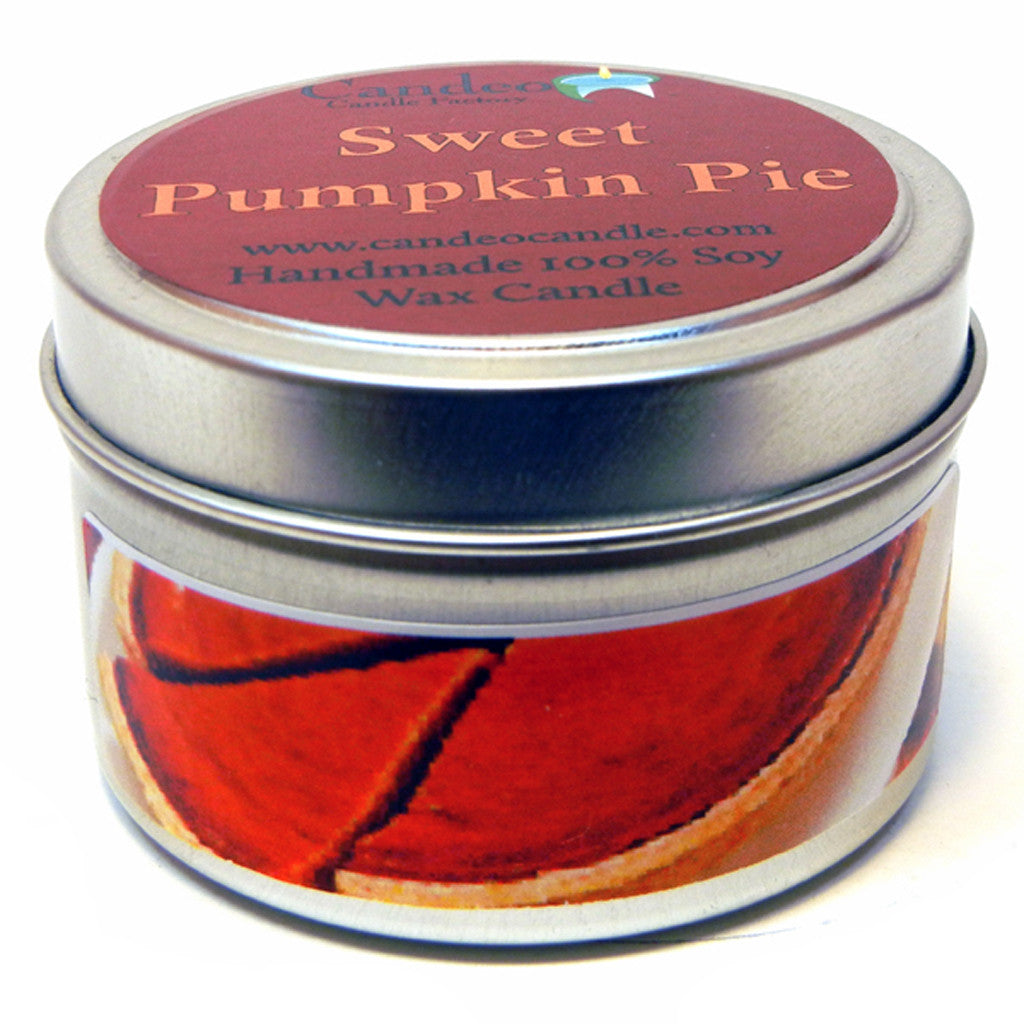 Sweet Pumpkin Pie, 4oz Soy Candle Tin - Candeo Candle - 1