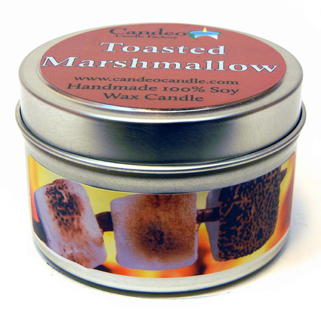 Toasted Marshmallow, 4oz Soy Candle Tin - Candeo Candle - 1