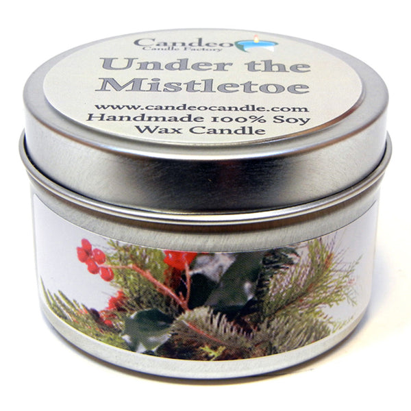 Under the Mistletoe, 4oz Soy Candle Tin - Candeo Candle - 1