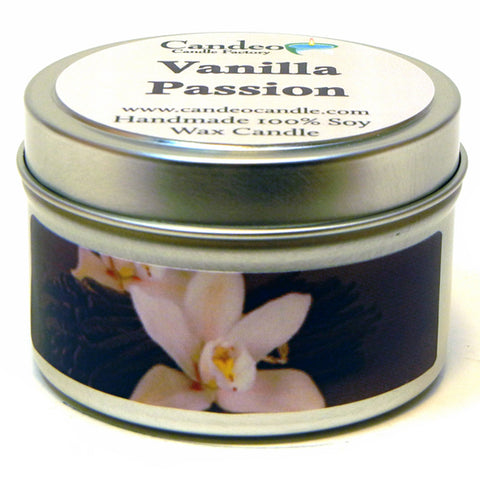 Vanilla Passion, 4oz Soy Candle Tin - Candeo Candle