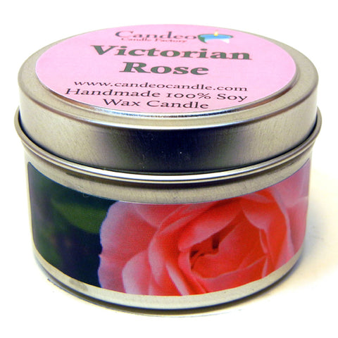 Victorian Rose, 4oz Soy Candle Tin - Candeo Candle - 1