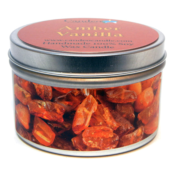Amber Vanilla, 6oz Soy Candle Tin - Candeo Candle