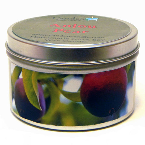 Anjou Pear, 6oz Soy Candle Tin - Candeo Candle