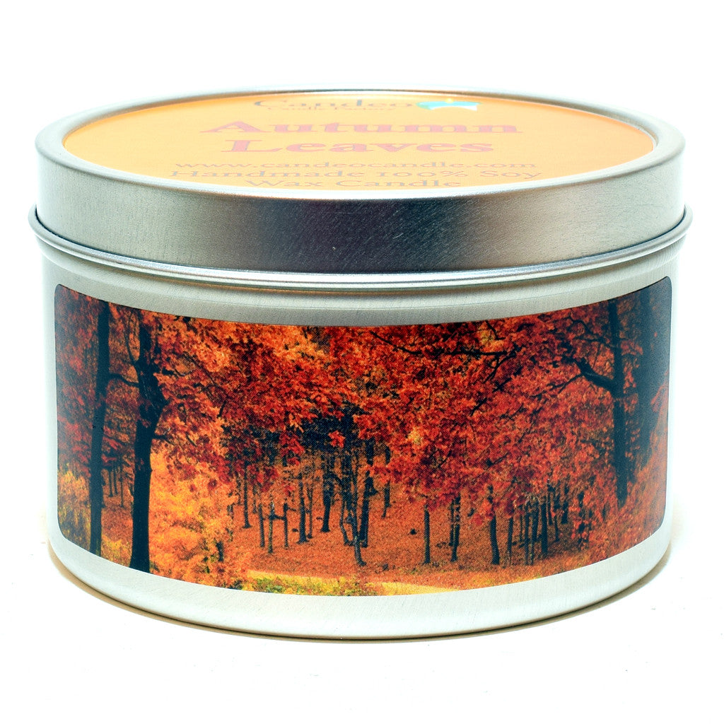 Autumn Leaves, 6oz Soy Candle Tin - Candeo Candle