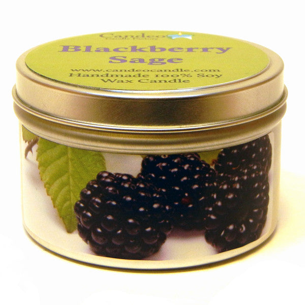 Blackberry Sage, 6oz Soy Candle Tin - Candeo Candle