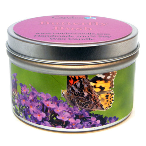Butterfly Bush, 6oz Soy Candle Tin - Candeo Candle