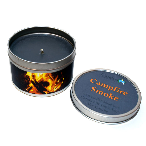 Campfire Smoke, 6oz Soy Candle Tin - Candeo Candle - 2