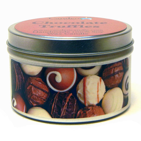 Chocolate Truffles, 6oz Soy Candle Tin - Candeo Candle