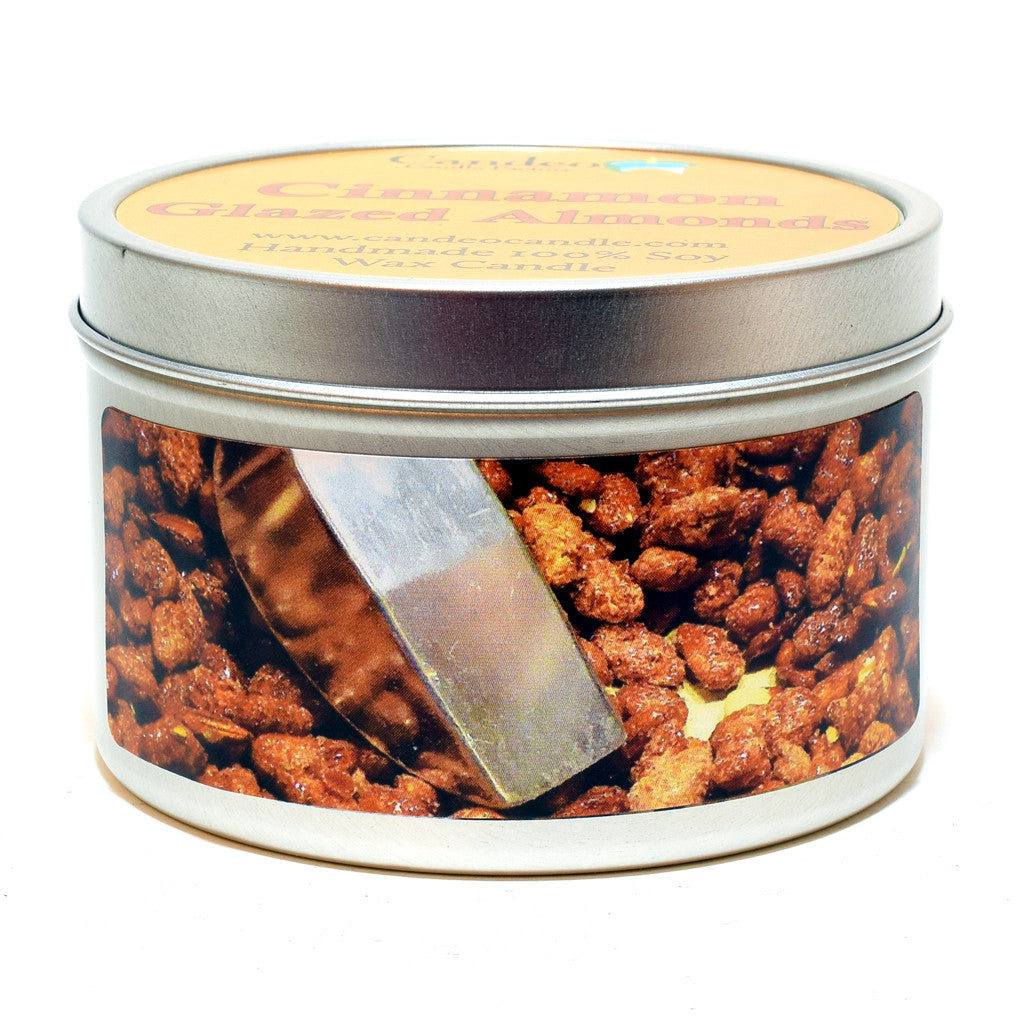 Cinnamon Glazed Almonds, 6oz Soy Candle Tin - Candeo Candle
