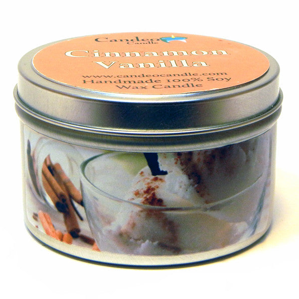 Cinnamon Vanilla, 6oz Soy Candle Tin - Candeo Candle