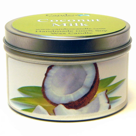 Coconut Milk, 6oz Soy Candle Tin - Candeo Candle