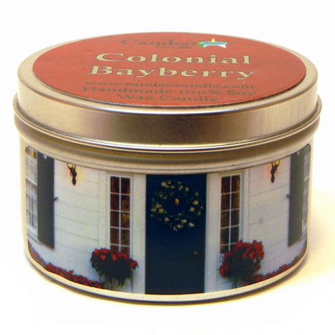 Colonial Bayberry, 6oz Soy Candle Tin - Candeo Candle