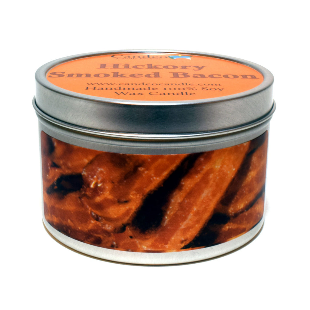 Hickory Smoked Bacon, 6oz Soy Candle Tin - Candeo Candle - 1
