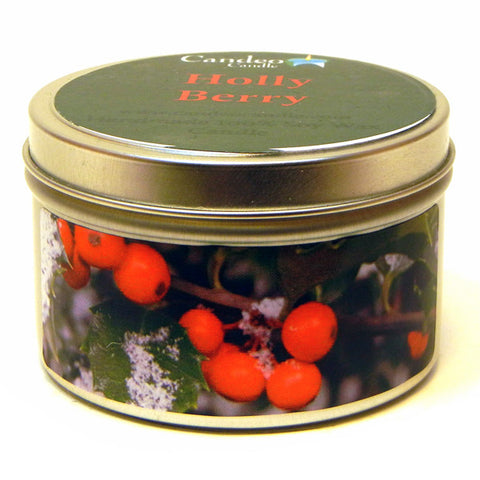 Holly Berry, 6oz Soy Candle Tin - Candeo Candle