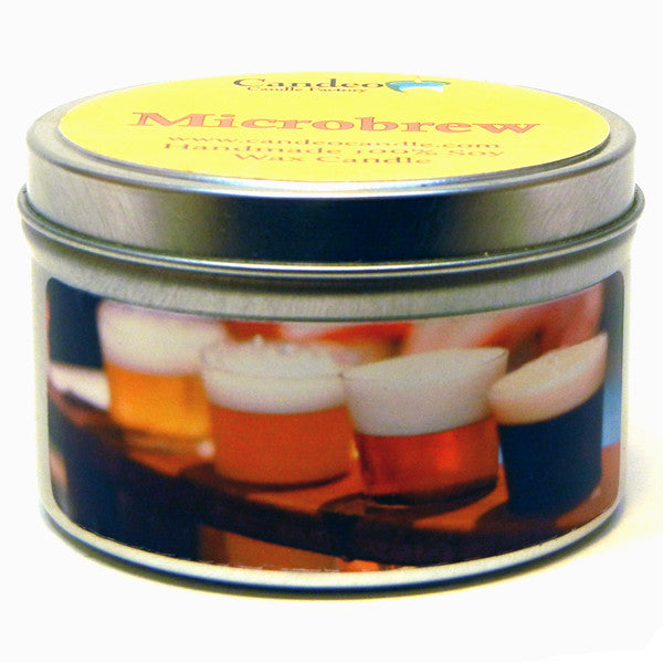 Microbrew, 6oz Soy Candle Tin - Candeo Candle