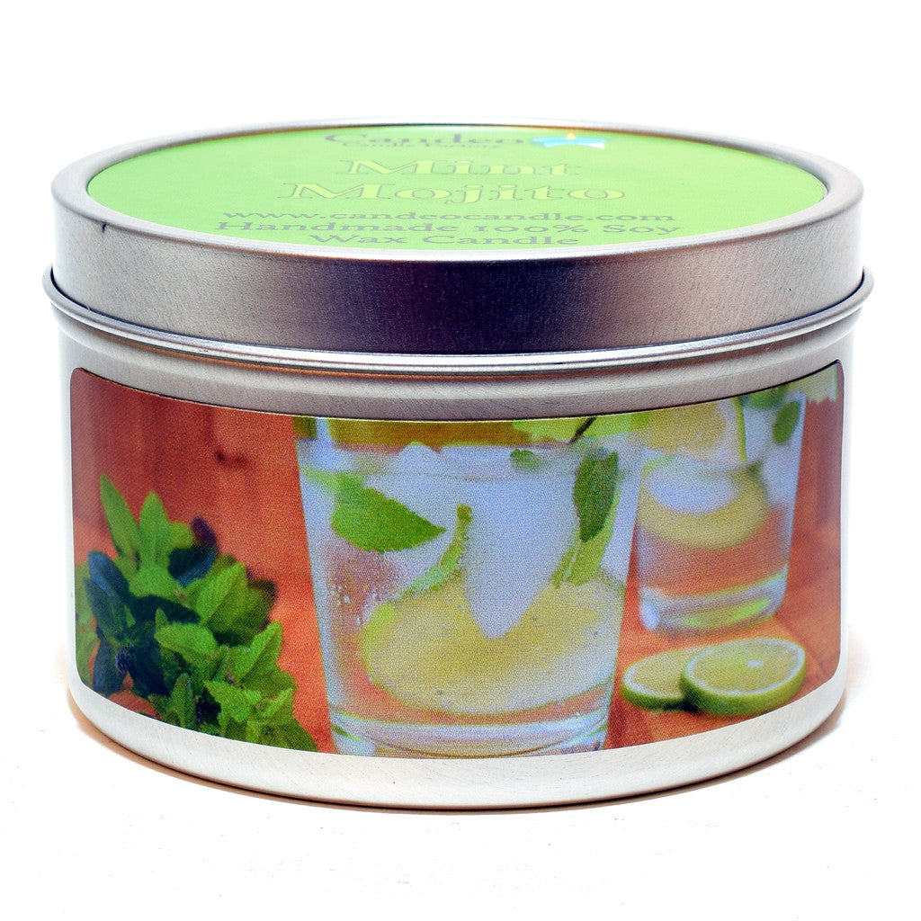 Mint Mojito, 6oz Soy Candle Tin - Candeo Candle