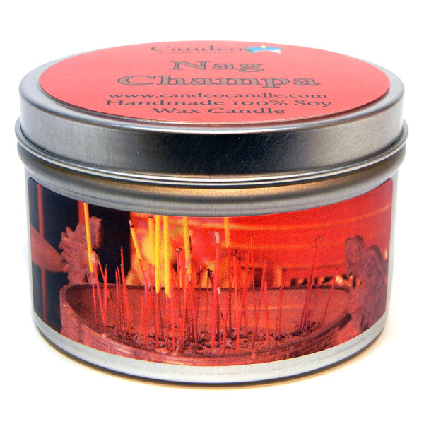 Nag Champa, 6oz Soy Candle Tin - Candeo Candle