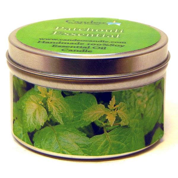 Patchouli Essential Oil, 6oz Soy Candle Tin - Candeo Candle