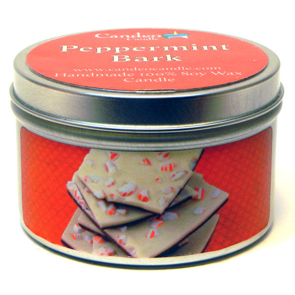 Peppermint Bark, 6oz Soy Candle Tin - Candeo Candle