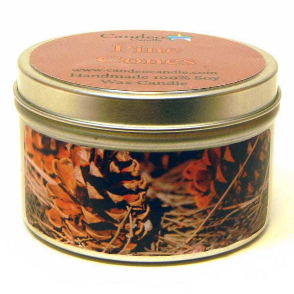 Pine Cones, 6oz Soy Candle Tin - Candeo Candle