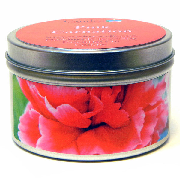 Pink Carnation, 6oz Soy Candle Tin - Candeo Candle