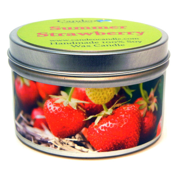 Summer Strawberry, 6oz Soy Candle Tin - Candeo Candle
