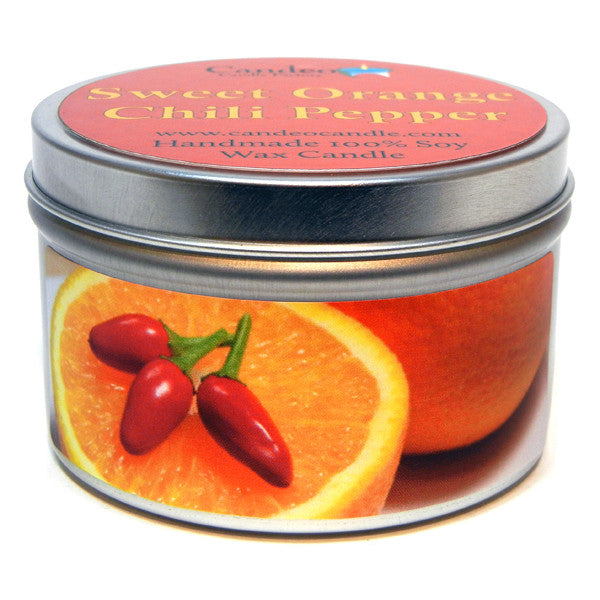 Sweet Orange Chili Pepper, 6oz Soy Candle Tin - Candeo Candle