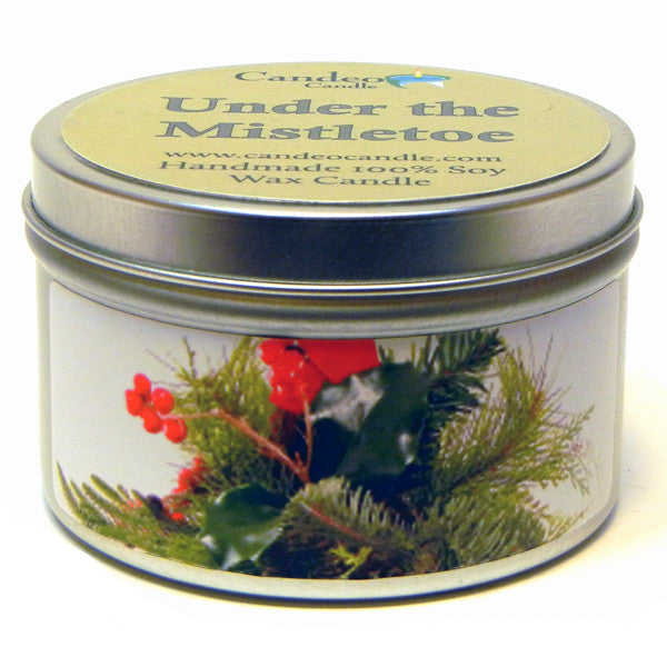Under the Mistletoe, 6oz Soy Candle Tin - Candeo Candle
