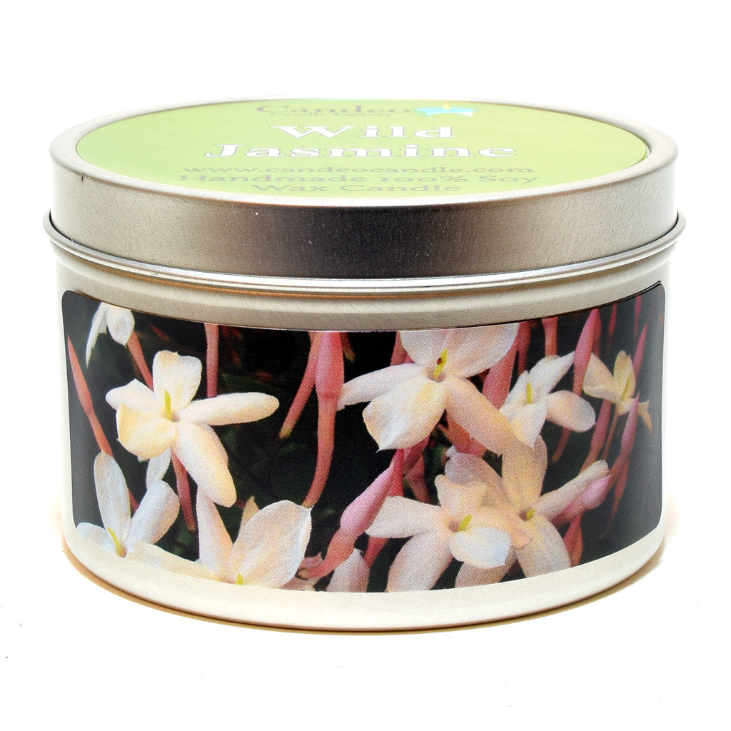 Wild Jasmine, 6oz Soy Candle Tin - Candeo Candle