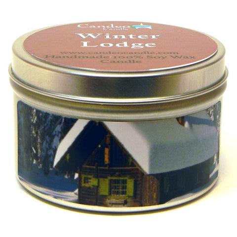 Winter Lodge, 6oz Soy Candle Tin - Candeo Candle